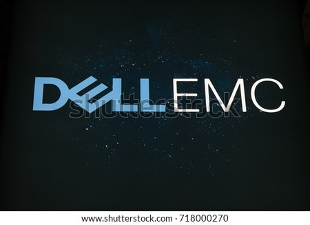 Amsterdam, Netherlands -september 15, 2017: Dell emc letters on a starry sky