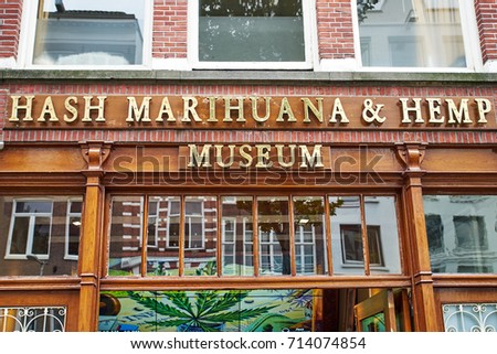Amsterdam, Netherlands - September 05, 2017: Hash Marijuana & Hemp Museum in red-light  in Amsterdam, Netherlands
