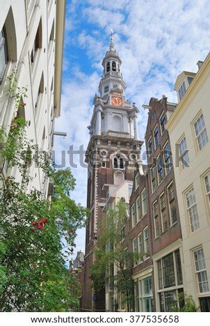 Amsterdam, Netherlands. South Church in a sunny summer day