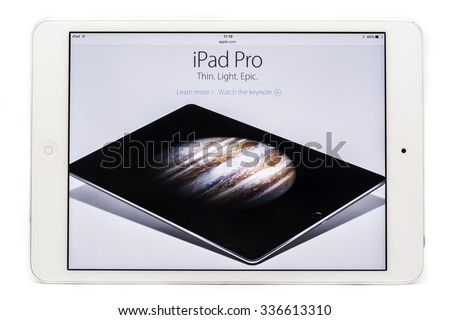 Amsterdam, Noord-Holland/Netherlands-November 07-11-2015- Studio shot from a iPad with the website Apple.com browsed, showed the new iPad pro. 12.9-inch Retina display, refined Multi?Touch technology. - stock photo