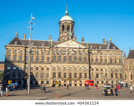 AMSTERDAM - OCTOBER 2: The front of Royal Palace at the Dam Square, Amsterdam, Netherlands, was built as city hall during the Dutch Golden Age in the seventeenth century, taken on October 2, 2015.