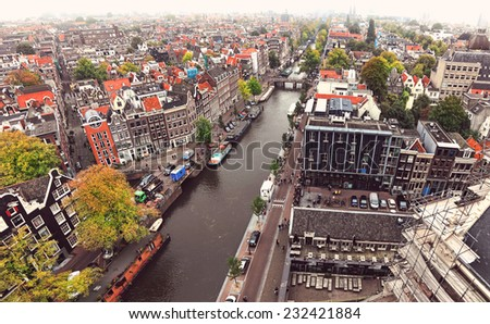 Amsterdam Old city top view, Netherlands - stock photo