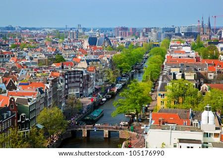 Amsterdam panorama, Holland, Netherlands. City view from Westerkerk - stock photo