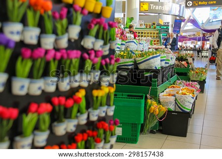 Amsterdam Schiphol, Netherlands - April 18, 2015: Sale of flowers and gifts at the airport Amsterdam Schiphol, Netherlands