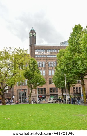 AMSTERDAM - SEPTEMBER 15, 2015: Booking.com headquaters in a famous Rembrant park in Amsterdam, Netherlands. - stock photo