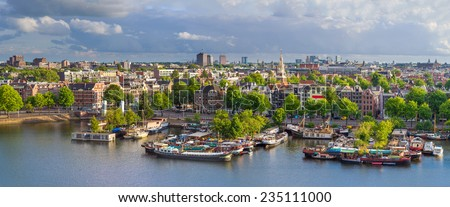 Amsterdam Skyline Aerial Panorama, The Netherlands. - stock photo
