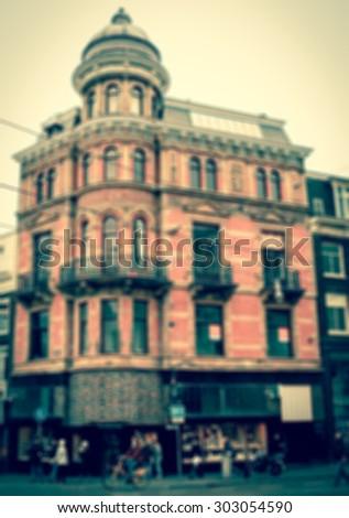 Amsterdam street. Blurred toned photo. - stock photo