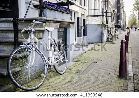 Amsterdam street with bike - stock photo