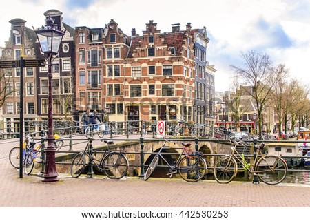 AMSTERDAM, THE NETHERLANDS- APRIL 7: Bicycle on the amsterdam brdige on April 7, 2016. Bicycles outnumber the people in Amsterdam, also there are twice as many bikes then cars.