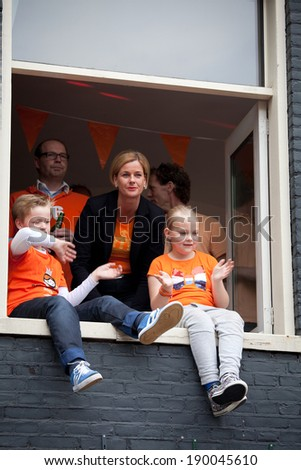 Amsterdam, The Netherlands, April 26, 2014: celebration of the public national holiday King's day - Koningsdag - held every year in April in the entire country to celebrate King Willem's birthday