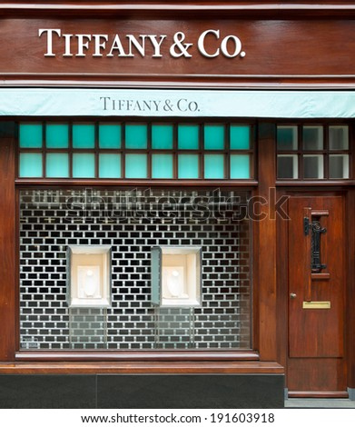 AMSTERDAM, THE NETHERLANDS - APRIL 26, 2014: Tiffany & Co store in the P.C.Hooftstraat, shopping street in Amsterdam. The American luxury jewelry and specialty retailer is founded in 1837 in New York. - stock photo