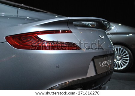 AMSTERDAM, THE NETHERLANDS - Aston Martin VanQuish displayed at AutoRai 2015. - stock photo