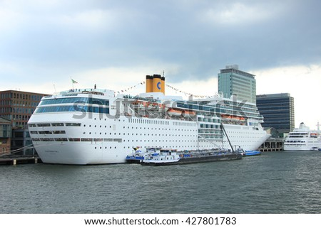 Amsterdam, the Netherlands, august 2nd 2014  Costa Neo Romantica docked at Amsterdam Passenger Terminal