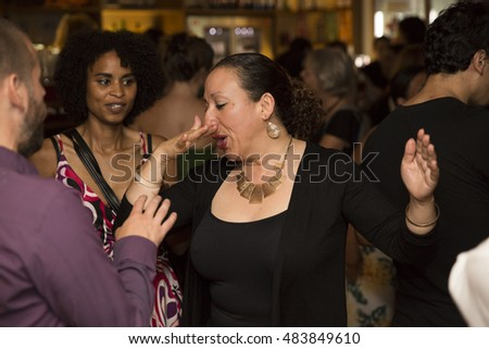 Amsterdam, The Netherlands - August 27, 2016: people dancing at the closing party at Rialto Cinema during World Cinema Amsterdam festival, a world film festival held from 18 to 27/08/2016