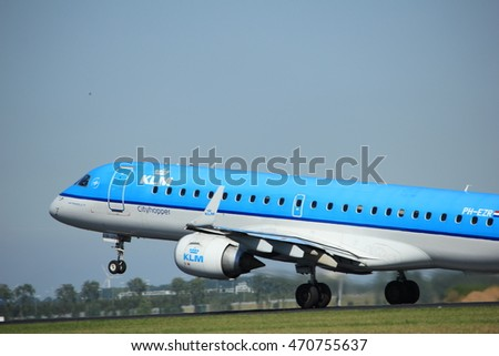 Amsterdam, the Netherlands  - August, 18th 2016: PH-EZR KLM Cityhopper Embraer ERJ-190STD 