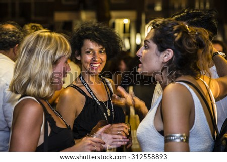 Amsterdam, The Netherlands - August 14 2015: visitors at opening celebration of World Cinema Amsterdam, a world film festival held from 14 to 23/08/2015