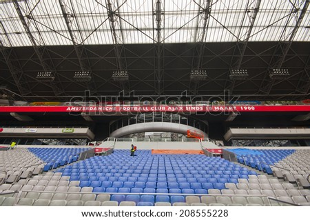 AMSTERDAM, THE NETHERLANDS-CIRCA MAY 2014: On a touristic tour at Amsterdam Arena - the official stadium of FC Ajax