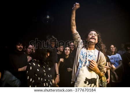 Amsterdam, The Netherlands - 11 february 2016: audience of fans dancing and cheering at the concert of  Dutch indie rock trio Bombay for their Album Release Show at venue OT301 - stock photo