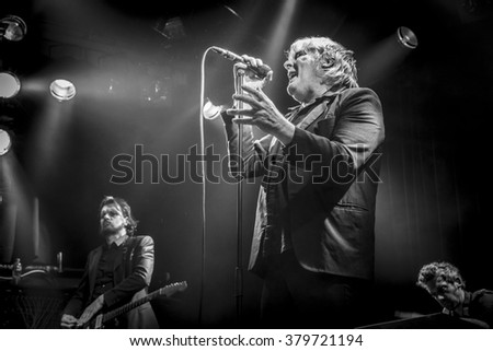 Amsterdam, The Netherlands - 20 february, 2016: concert of Belgian rock singer Arno for his album release Human Incognito at venue Melkweg