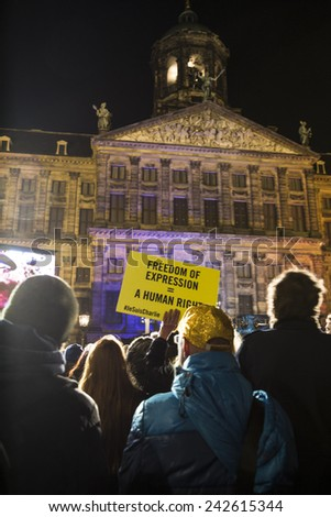 Amsterdam, The Netherlands, January 08 2015: demonstration in solidarity with the attack against Charlie Hebdo in Paris, France on 07 January - stock photo