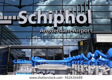 AMSTERDAM, THE NETHERLANDS - July 3, 2016: Main entrance of Amsterdam Airport Schiphol. Schiphol is the main international airport of the Netherlands.