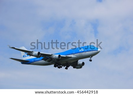 Amsterdam, the Netherlands - July 21st 2016: PH-BFD KLM Royal Dutch Airlines Boeing 747-406,  approaching Polderbaan runway at Schiphol Amsterdam Airport, arriving from Los Angeles, United States