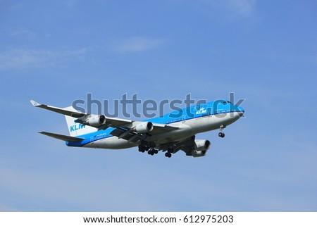 Amsterdam, the Netherlands - July 21st 2016: PH-BFG KLM Royal Dutch Airlines Boeing 747-406,  approaching Polderbaan runway at Schiphol Amsterdam Airport, arriving from Shanghai, China