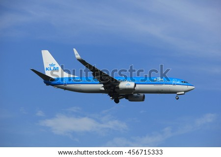 Amsterdam, the Netherlands - July 21st 2016: PH-BXK  KLM Royal Dutch Airlines Boeing 737,  approaching Polderbaan runway at Schiphol Amsterdam Airport, arriving from Edinburgh, United Kingdom