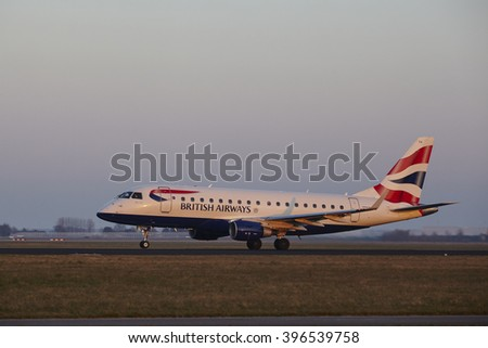 AMSTERDAM, THE NETHERLANDS - MARCH, 13. The British Airways Embraer ERJ-170STD with identification G-LCYH takes off at Amsterdam Airport Schiphol (The Netherlands, AMS), Polderbaan on March 13, 2016.