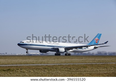 AMSTERDAM, THE NETHERLANDS - MARCH, 13. The China Southern Airlines Airbus A330-323 with id B-5959 takes off at Amsterdam Airport Schiphol (The Netherlands, AMS), Polderbaan on March 13, 2016.