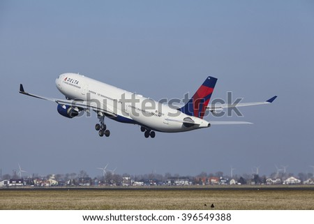 AMSTERDAM, THE NETHERLANDS - MARCH, 13. The Delta Air Lines Airbus A330 with identification N806NW takes off at Amsterdam Airport Schiphol (The Netherlands, AMS), Polderbaan on March 13, 2016.