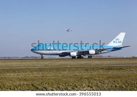AMSTERDAM, THE NETHERLANDS - MARCH, 13. The KLM Boeing 747-406(M) with identification PH-BFI takes off at Amsterdam Airport Schiphol (The Netherlands, AMS), Polderbaan on March 13, 2016.