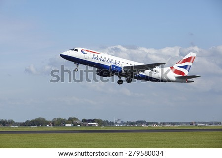 AMSTERDAM, THE NETHERLANDS - MAY, 13. An Embraer ERJ-170 of British Airways CityFlyer takes off at Amsterdam Airport Schiphol (The Netherlands) on May 13, 2015. The name of the runway is Polderbaan. - stock photo