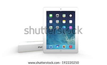 AMSTERDAM, THE NETHERLANDS, 12 MAY 2014 - Apple iPad with package box. - stock photo