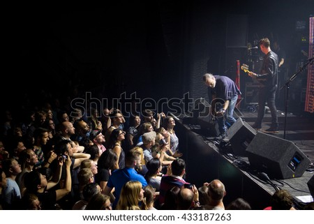 Amsterdam, The Netherlands - May 27, 2016: Fran Healy of Scottish rock band Travis performs live on stage at the Melkweg Music Hall.