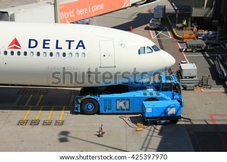 Amsterdam The Netherlands -  May 13th 2016: N823NW Delta Air Lines Airbus A330, pushed back from gate at Amsterdam Schiphol Airport, departing to Minneapolis, United States - stock photo