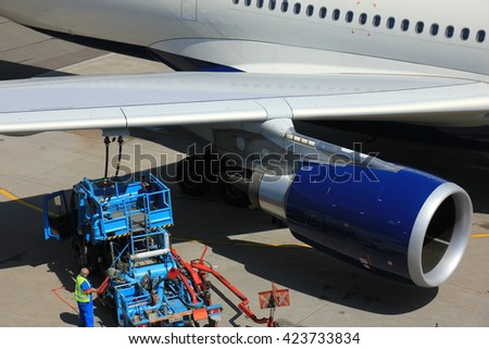 Amsterdam The Netherlands -  May 13th 2016: N823NW Delta Air Lines Airbus A330, refueling at Amsterdam Schiphol Airport, departing to Minneapolis, United States - stock photo