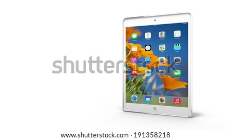 AMSTERDAM, THE NETHERLANDS - 05 MAY 2014 - White Apple iPad Mini tablet. - stock photo