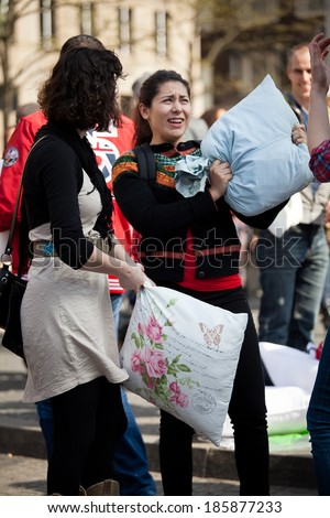 Amsterdam, The Netherlands, Noord Holland - Saturday, April 5th 2014 - Pillow Fight on Dam Square
