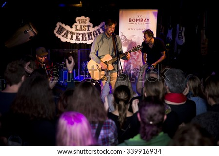 Amsterdam, The Netherlands - October, 17 2015: concert of Swiss rock band 77 Bombay Street during Amsterdam Waterfall Festival at the Waterhole. - stock photo