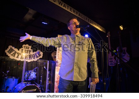 Amsterdam, The Netherlands - October, 17 2015: official opening before the concert of Swiss rock band 77 Bombay Street during Amsterdam Waterfall Festival at the Waterhole. - stock photo