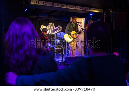 Amsterdam, The Netherlands - October, 17 2015: rehearsal of Swiss rock band 77 Bombay Street during Amsterdam Waterfall Festival at the Waterhole. - stock photo