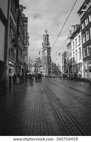 Amsterdam, The Netherlands - October, 2012. View on Munttoren from the Reguliersbreestraat. - stock photo