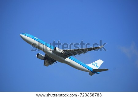 Amsterdam the Netherlands - September 23rd 2017: PH-AKE KLM Royal Dutch Airlines Airbus A330 takeoff from Kaagbaan runway, Amsterdam Airport Schiphol