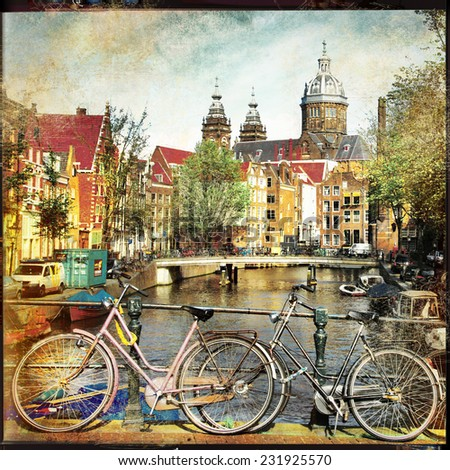 Amsterdam - vintage films - stock photo