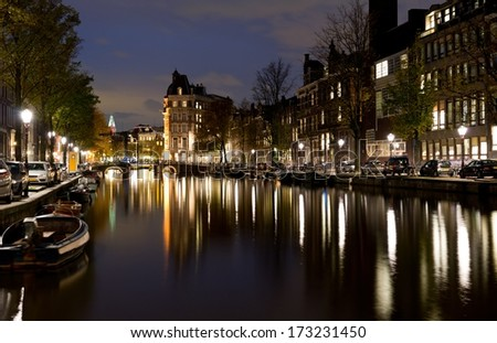 Amsterdam water canal during beautiful night with reflections - stock photo