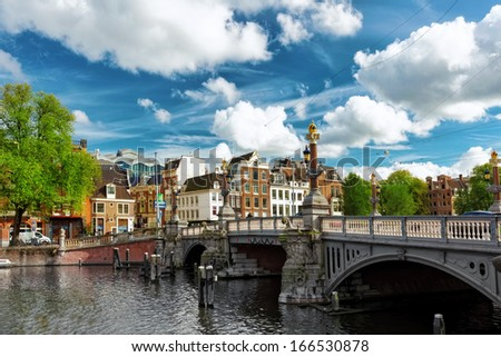 Amsterdam with canal in the downtown, Holland. - stock photo