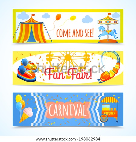 Amusement entertainment carnival theme park fun fair horizontal banners isolated  illustration - stock photo