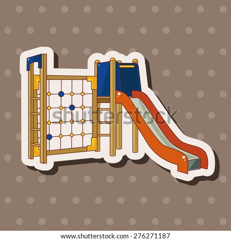 Amusement park facilities , cartoon sticker icon