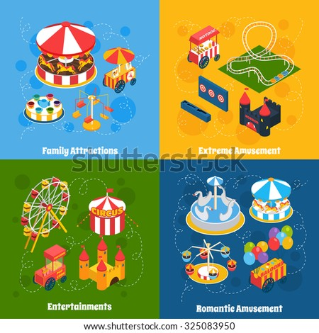 Amusement park isometric set with family attractions extreme and romantic entertainment isolated  illustration - stock photo